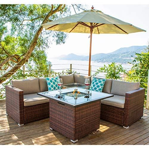 Cosiest 4 Piece Propane Fire Pit Outdoor Sectional Sofa Set Brown Patio Furniture Set W 36 Inch Square Fire Table 40 000 Btu Glass Wind Guard Internal Tank Outdoor Furniture Sets Outdoor Furniture Outdoor Comfort