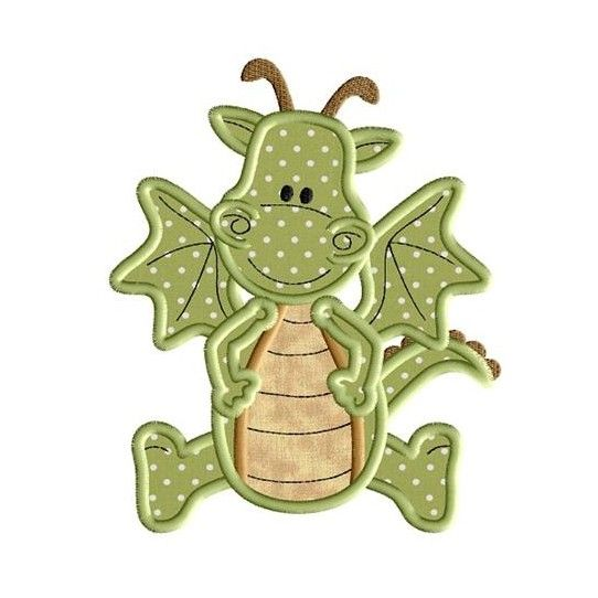 Cute Dragon Applique Design for machine embroidery! Only $1.49 with Coupon Code