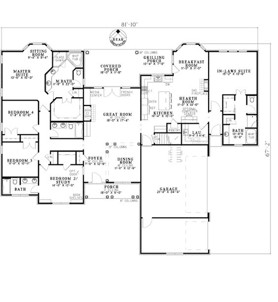 3 car garage house plans and the courtyard on pinterest for Home plans with in law suites