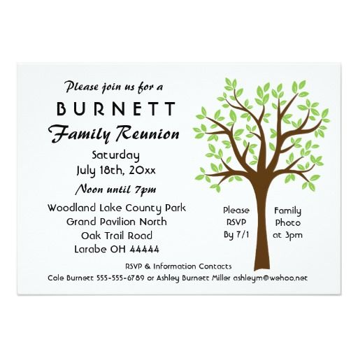 Family Tree Reunion Invitation  Family Reunion IdeasIce Breaker