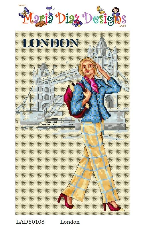 0 point de croix femme à Londres - cross stitch lady in london: