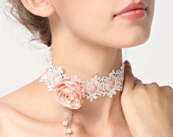 White Lace Choker Necklace with Red Rose & Silver por FairybyFoxie