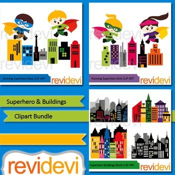 Superhero and buildings clipart bundle includes 3 sets of digital clip art. Running superheroes above city buildings theme. Boys and girls, and city skyscraper.Included in this bundle:1. Superhero buildings block 076942. Running superhero boys 076773.