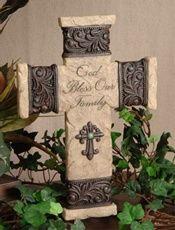 "Faith Collection - God Bless Our Family 10"" Resin Wall Cross #FC-706"