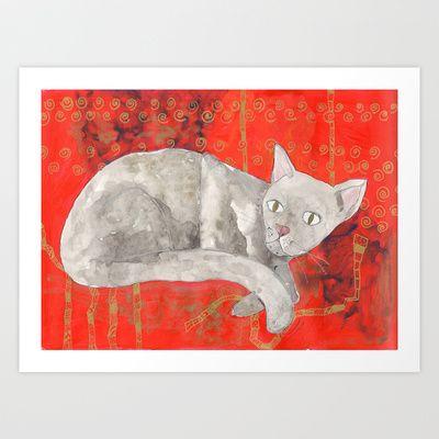 Second cat Art Print by Melina Martín  - $17.00