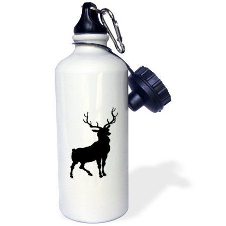 3dRose Black Deer Silhouette, Sports Water Bottle, 21oz