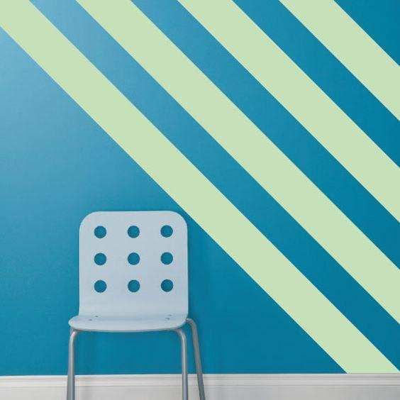 Slate Blue Diagonal Stripe Accent Wall: Vinyls, Stripes And Blue On Pinterest