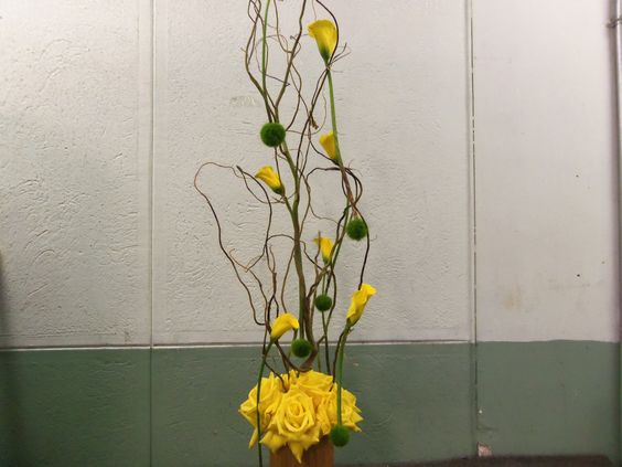 Really cool moss balls suspended from yellow mini callas