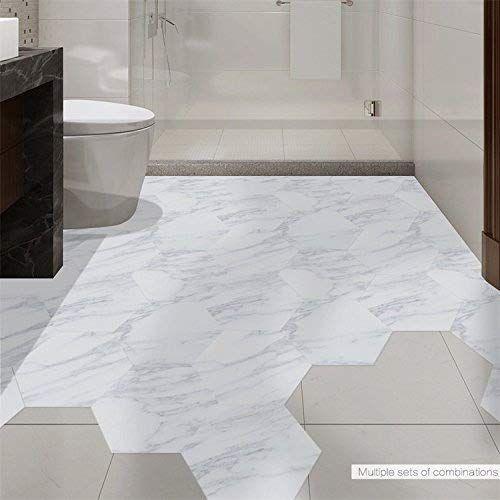 Gandecor Marble Effect Hexagon Shape Wall Sticker Floor Tiles