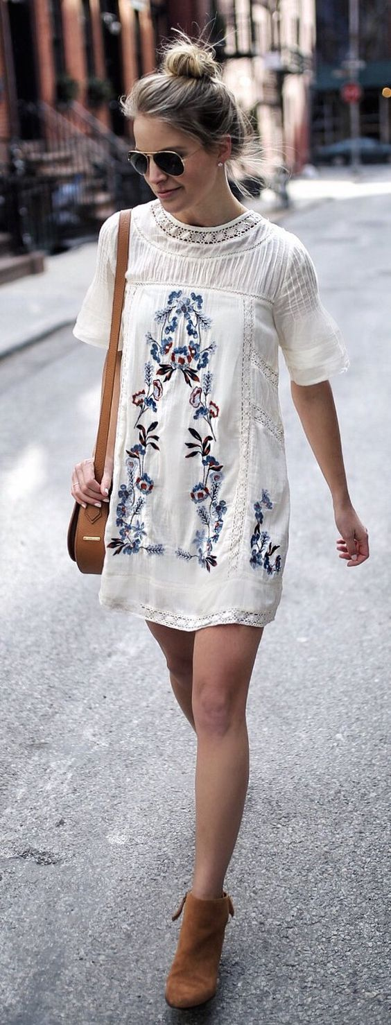 White Printed Dress & Brown Suede Booties: