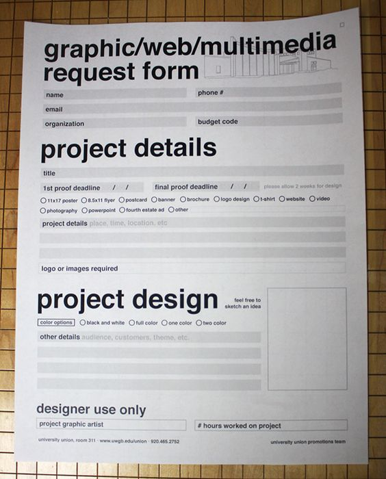 UWGB Graphic Request Form on Behance Forms \ Stationeries - project request form