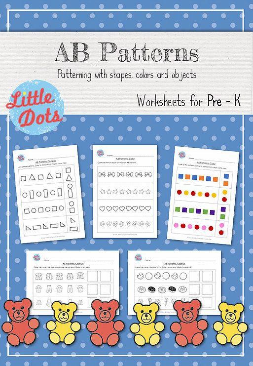 AB Patterns Worksheets for Pre-K Little Dots Studio | Preschool ...