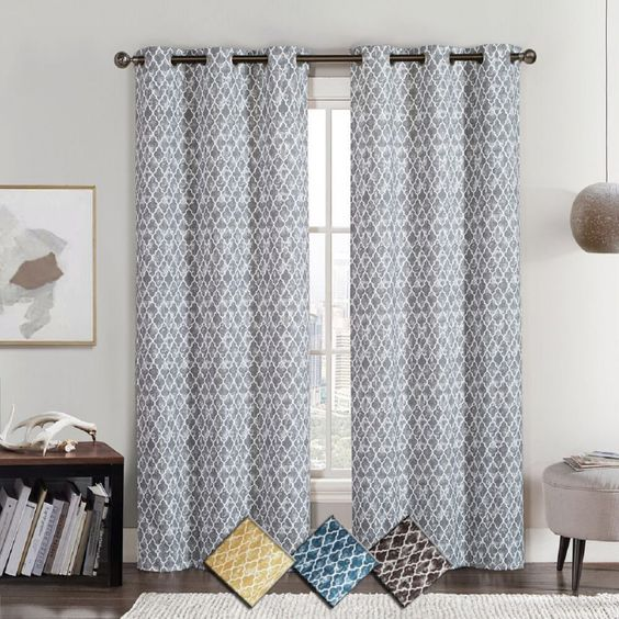 Curtains Ideas blackout panels for curtains : Amadora Geometric Thermal Grommet Top Room Darkening Curtains( Set ...