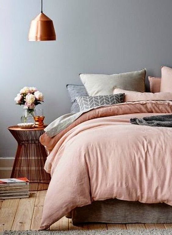 Copper details are right at home in this grey and blush bedroom    @pattonmelo: