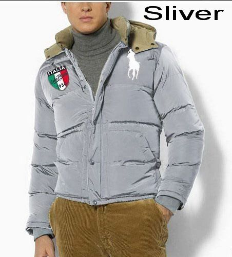 Polo Ralph Lauren Men Full Zip Italy Flag Down Jacket Sliver