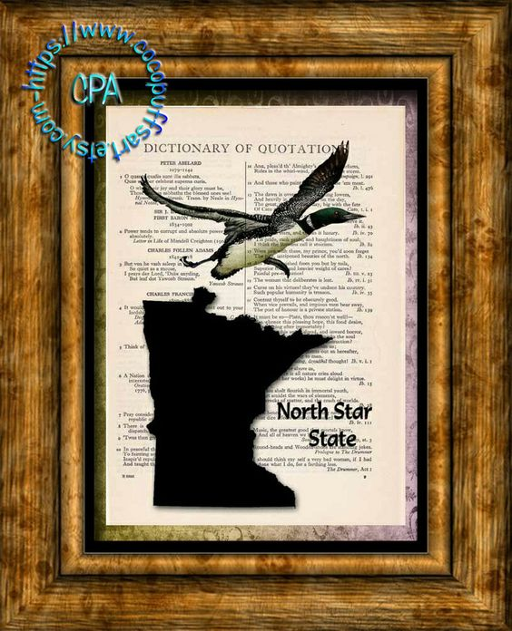 MINNESOTA State Black Silhouette with State Bird, North Star State Art - Vintage Dictionary Page Art Print Upcycled Page Print by CocoPuffsArt on Etsy