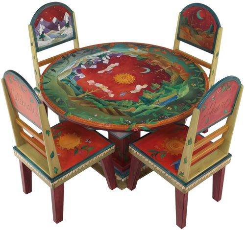 Painted Round Kitchen Table And Chairs: BONUS ROOM. Sticks Round Dining Table W/ 4 Chairs
