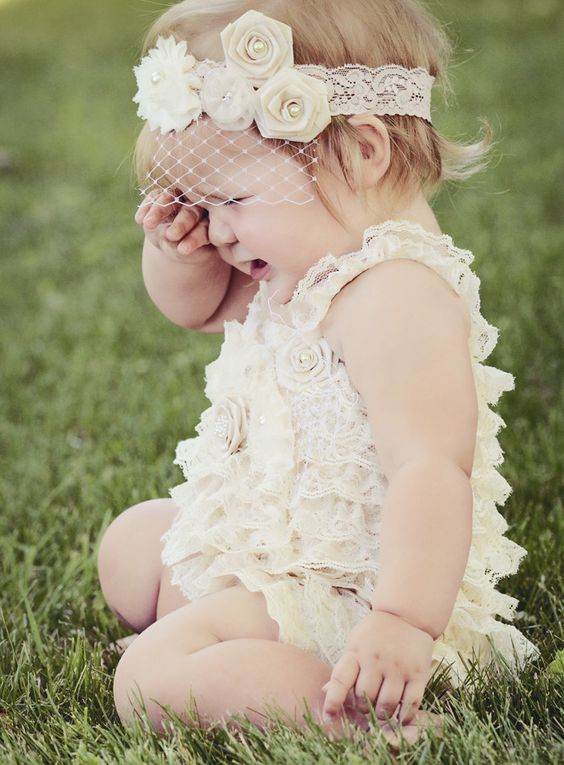 Lace Petti Baby Romper, Ivory with Flowers and Rosette Embellishments, Baby Rompers. $42.99, via Etsy.