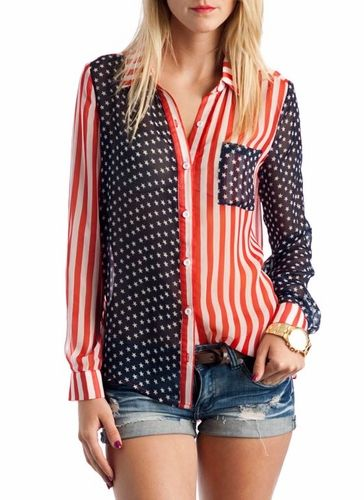 american flag button-up top