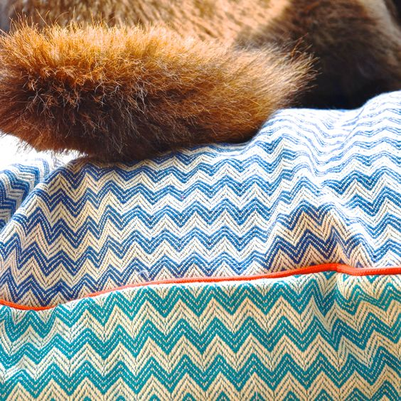Sweet Dreams on our ZigZag linen-cotton dog bed