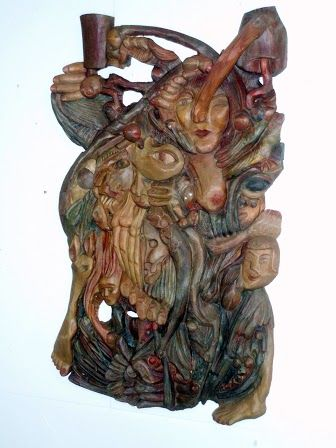 """At last"" wooden relief 85cm X 120 cm"