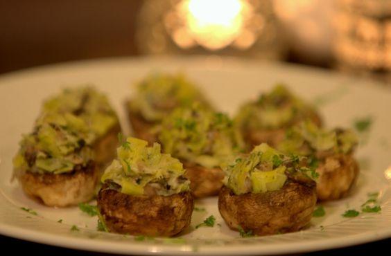 champignonhapjes met prei (mushrooms - leek - parsley - apetizer)