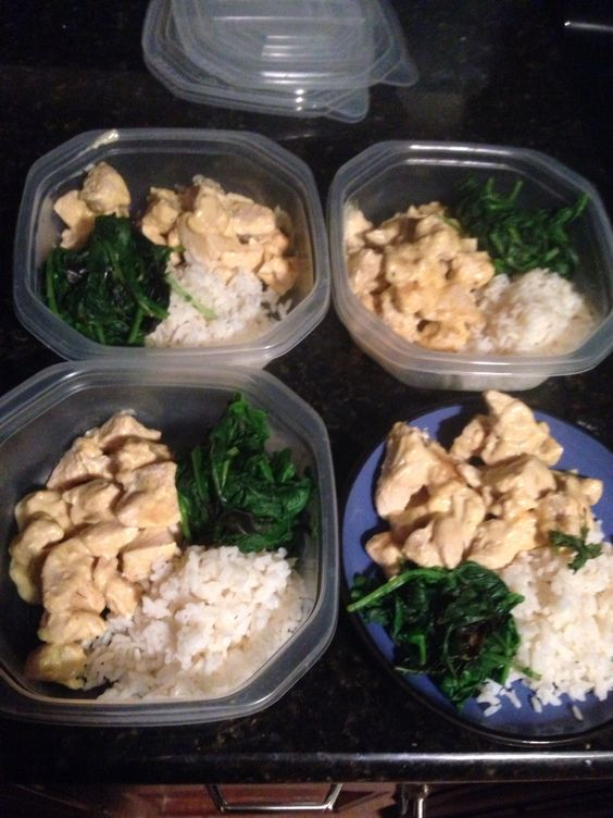 Creamy Three Cheese Chicken with Rice and Spinach plus Kale (344 calories per serving)