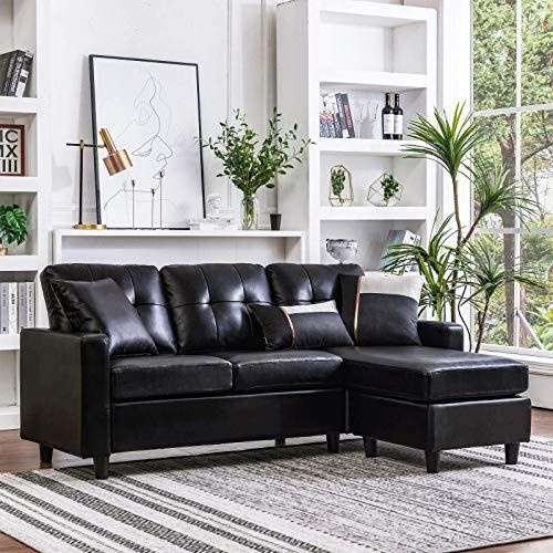 Chic Honbay Convertible Sectional Sofa Couch Leather L Shape Couch With Modern Faux Leather Sectio In 2020 Faux Leather Sectional Sectional Sofa Sofas For Small Spaces