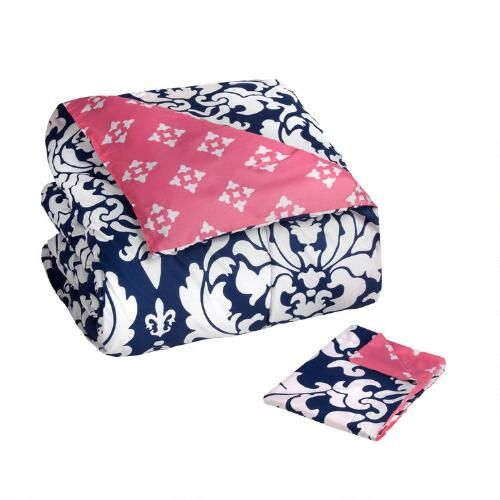 One of my favorite discoveries at ChristmasTreeShops.com: Navy/Pink Damask Floral Reversible Mini Comforter Set