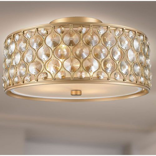 251 First Vivian Silver Gold Two Light Semi Flush Mount With