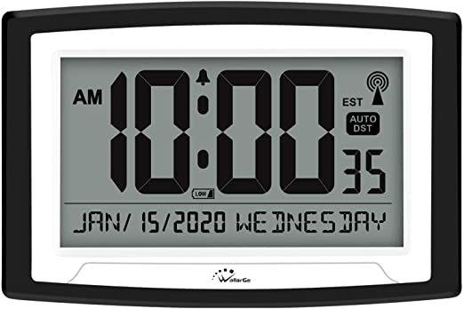Wallarge Atomic Clock Self Setting Alarm Days Clock Digital Wall Clock Or Desk Clock Battery Operated Digital Clock Large Display In 2020 Digital Wall Clock Desk Clock