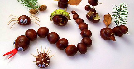 Chestnut crafts (snake, hedgehog, spider...)