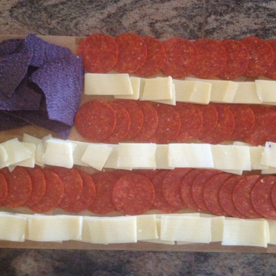 Pepperoni and cheese with blue tortilla chips, 4th of July! 4th of July apps. 4th of July appetizer: