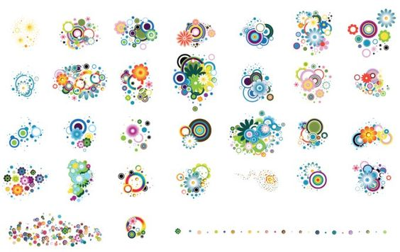 Huge set of colourful flower elements. The best Colourful Flower Elements available on the internet for absolutely no price.