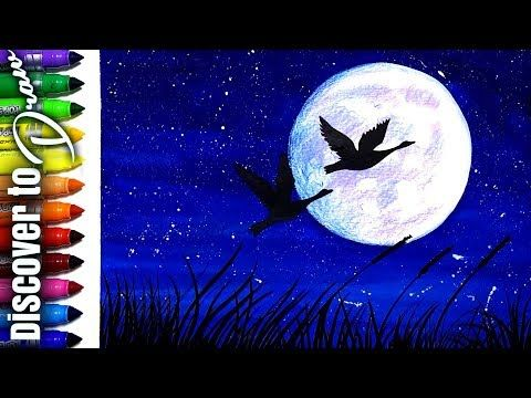 How To Draw Moonlight Scenery For Kids Simple Watercolor Painting Tutorial Youtube Watercolor Paintings Easy Painting Tutorial Landscape Drawing Easy