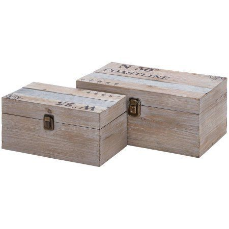 Decmode Wood and Metal Box, Set of 2, Multi Color, Multicolor