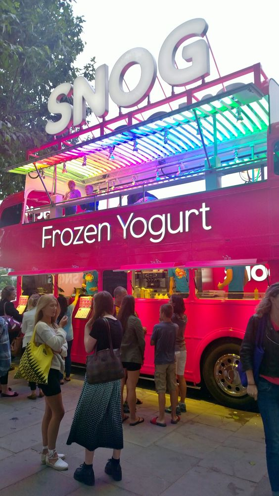 A conversion of a vintage #Routemaster by @TheBusBusiness retailing SNOG Frozen Yogurt on London's #Southbank