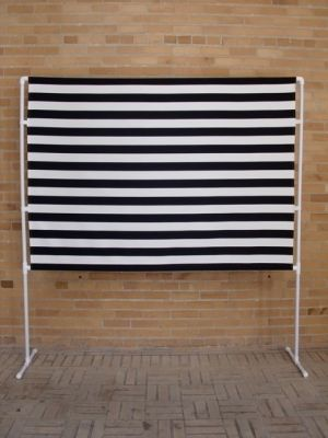 black and white striped photobooth backdrop