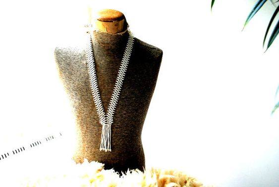Classy vintage 60s white pearl beads long necklace  tie  by VezaVe