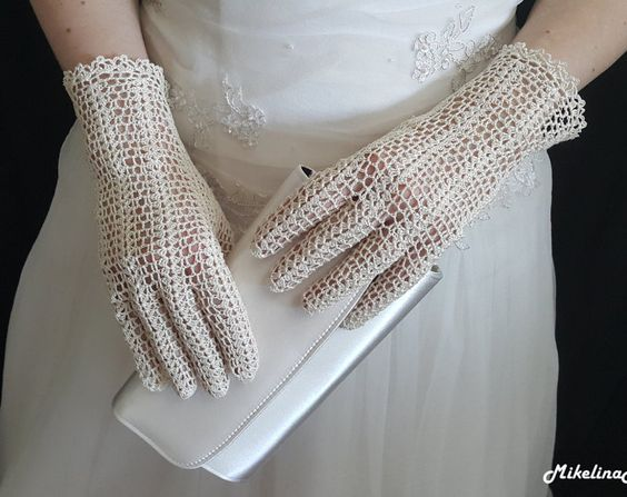 Bridal Crochet Gloves, Ivory, 100% Silk