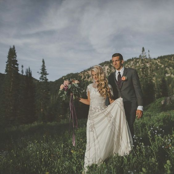 modest wedding dress with flutter sleeves from alta moda. -- (modest bridal gown) --