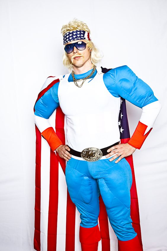 Rethink Romp 2010 | #superhero #red #blue #white #america #flag #cape #belt #mustache #sunglasses #creative #inspiration #ideas #crimsonphotos | Photography By: Crimson Photos