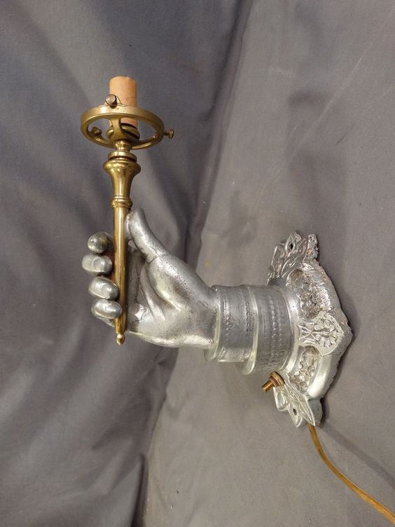 Antique ART DECO Era NICKEL Plate HUMAN HAND Holding TORCH Figural WALL SCONCE