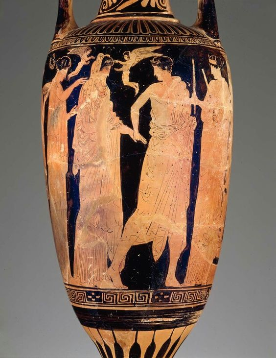 Ceramic red-figure bathing vessel (loutrophoros) depicting a bridal procession…