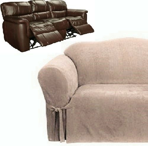 Suede Taupe Surefit Recliner Couch