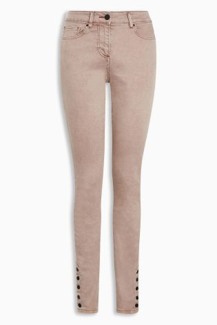 Buy Pink Popper Hem Skinny Jeans from the Next UK online shop