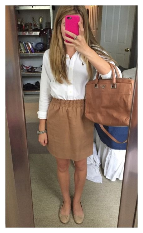 J. Crew Skirt and RL top - my fav skirt I own.. Time to get a button down to go with it