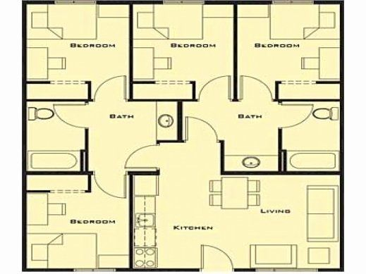 Small Four Bedroom House Plans Fresh Inside The Stunning Simple House Plans 4 Bedrooms 16 4 Bedroom House Plans Bedroom House Plans Four Bedroom House Plans