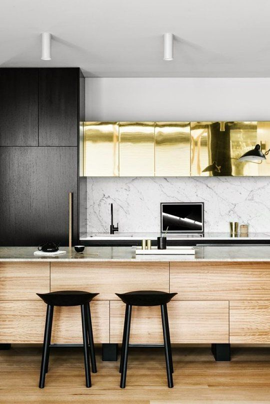 Gold Metallic Kitchen Cabinets & Island Trend | Apartment Therapy: