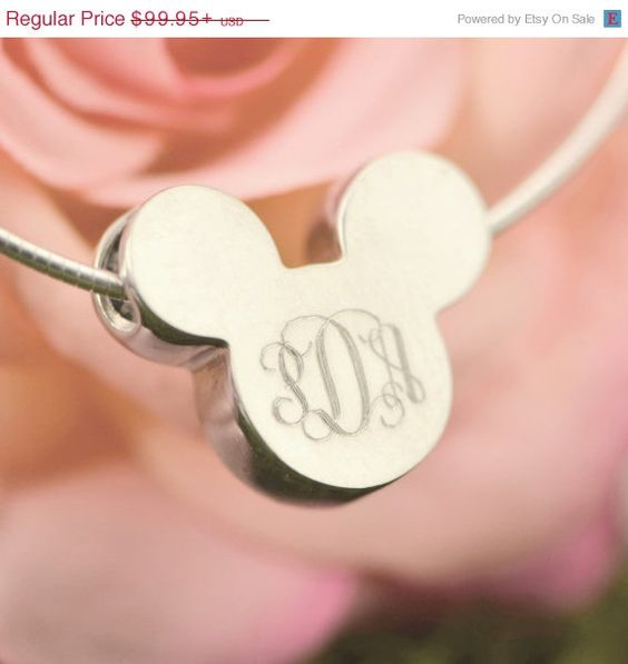 Christmas In July Mickey Mouse Pendant - Disney Jewelry - Mickey Mouse Necklace - Sterling Silver - Engraved Mickey Pendant